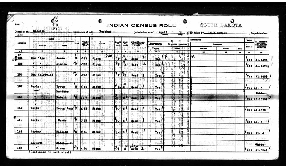 Robert (Bob) Barker - South Dakota's Indian Census Roll; April 1, 1930