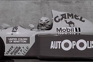 Roberto Moreno - Moreno driving for Benetton at the 1991 United States Grand Prix.