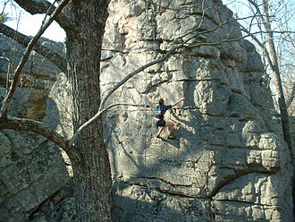 Rocktown (Georgia) - A young climber uses a top-rope safety rig at Rocktown.
