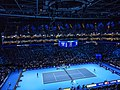 Roger Federer v Novak Djokovic at 2019 ATP Finals (49070125818).jpg