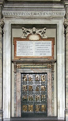 The Holy Door by Vico Consorti cast by Ferdinando Marinelli Artistic Foundry of Florence is the northernmost entrance of Saint Peter\u0027s Basilica in the ... & Holy door - Wikipedia