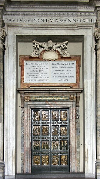 Holy door - The Holy Door by Vico Consorti, cast by Ferdinando Marinelli Artistic Foundry of Florence, is the northernmost entrance of Saint Peter's Basilica in the Vatican. It is cemented shut and only opened for Jubilee Years.