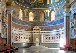 The cathedra of the Pope in the apse of St. John Lateran, the cathedral of Rome.