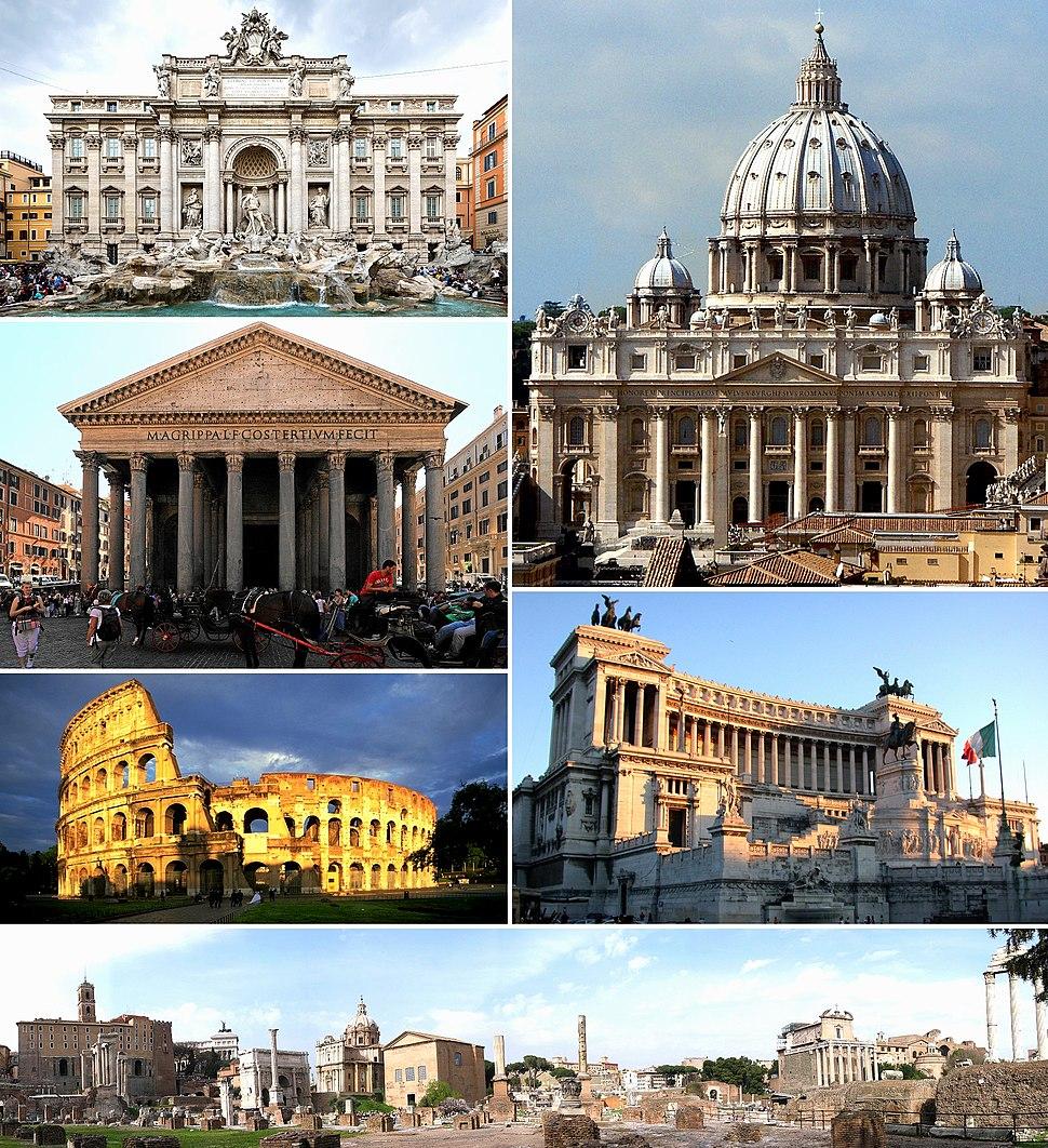 Az óramutató járásával fentről: a Trevi-kút, a Szent Péter-bazilika, a Viktor Emanuel-emlékmű, a Forum Romanum, a Colosseum és a Pantheon