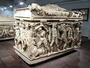 Konya Archaeological Museum - A Roman sarcophagus from 250-260 AD depicting the labors of Hercules