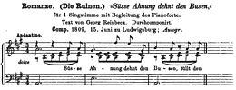 """""""Romanze der Laura"""" von Georg Reinbeck, Vertonung: Carl Maria von Weber. (Quelle: Wikimedia)"""