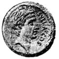 Romerskt mynt med bild på Sulla, Nordisk familjebok.png