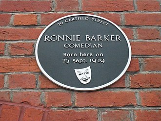 Ronnie Barker - Plaque marking Barker's birthplace