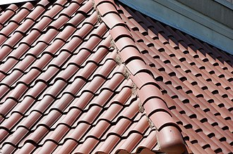Roof tiles - Spanish Colonial style ceramic tile roof in Texas, US