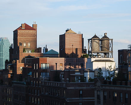 Rooftop water towers on apartment buildings on East 57th Street in New York City