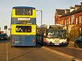 Rossendale Transport bus 21 (S861 DGX) & First Manchester bus 12009 (YN05 GYG), 18 November 2008.jpg