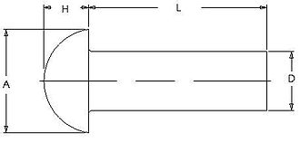 Rivet - A typical technical drawing of a universal head solid rivet