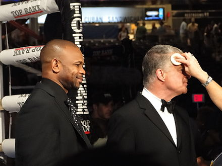 Jones with co-commentator Jim Lampley, 2010