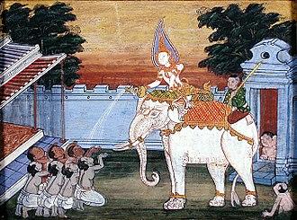 Thai art - A depiction of a white elephant in 19th century Thai art.