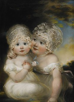 RUSSELL John (1745-1806)Two Small Girls with Bonnets