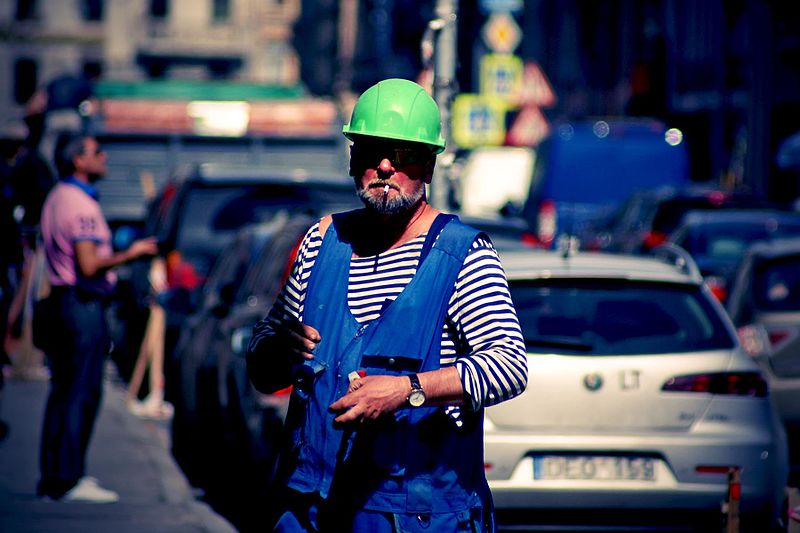 File:Russian construction worker in marinière and overalls.jpg