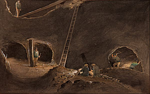 Stoping - Sketch painting of miners stoping at the Burra Burra Mine, Burra, Australia, 1847.