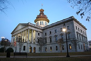 South Carolina General Assembly - Image: SC State House at evening
