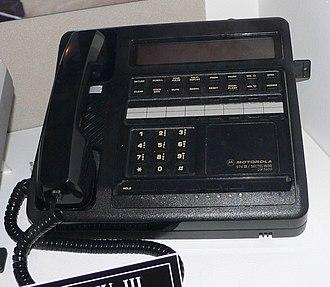 STU-III - A STU-III secure telephone (Motorola model). Crypto Ignition Key upper right.