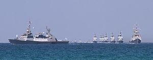 """שייטת ספינות הטילים בעת קבלת פנים לצוללת אח""""י תנין כשהגיעה לארץ ב-23 ספטמבר 2014."""