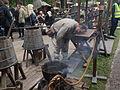 Sahti brewing at Turku Medieval market 2015.jpg