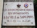 Saint-Pons-de-Thomières (Hérault) Plaque citoyens soviétioques.jpg