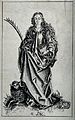 Saint Agnes. Pen and ink drawing after I. van Meckenem. Wellcome V0031504.jpg