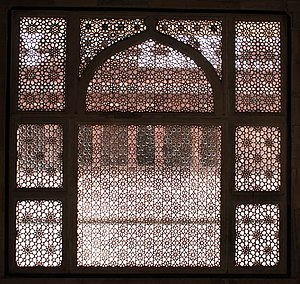 Tomb of Salim Chishti - Intricate Jali, stone latticework window,looking into the quadrangle of the Jama Masjid