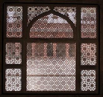 Tomb of Salim Chishti - Intricate Jali, stone latticework window,looking into the quadrangle of the Jama Masjid