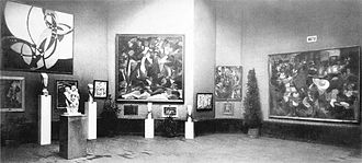 Francis Picabia - Salon d'Automne, Grand Palais des Champs-Élysées, Paris, Salle XI, between 1 October and 8 November 1912. Joseph Csaky (Groupe de femmes, sculpture front the left); Amedeo Modigliani (sculptures behind that of Csaky); paintings by František Kupka (Amorpha, Fugue in Two Colors); Francis Picabia (The Spring); Jean Metzinger (Dancer in a café); and Henri Le Fauconnier (Mountaineers Attacked by Bears)