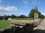 Saltaire - Cricket Pavilion and Statue in Roberts Park - geograph.org.uk - 1389614.jpg