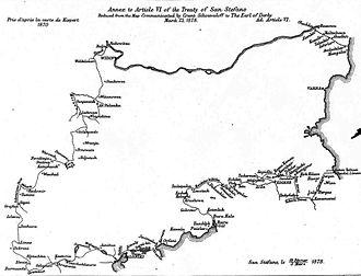 Kresna–Razlog uprising - Annex to the Treaty of San Stefano, showing the borders of Bulgaria