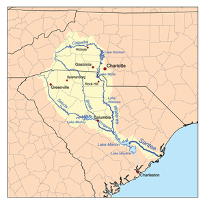 Santee River - Map of the Santee River watershed.