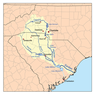 Catawba River - Map of the Santee River watershed showing the Catawba River.