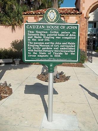 Ca' d'Zan - Image: Sarasota FL Caples Ringling HD Ca D Zan marker 01