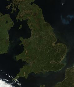 Satellite image of England