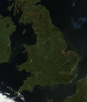 Geography of England - Satellite image of England