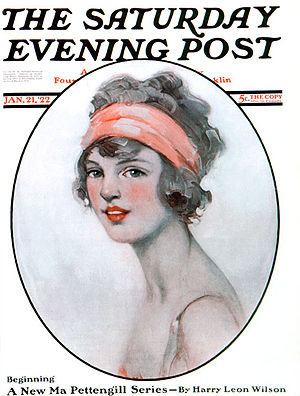 Ellen Bernard Thompson Pyle - Cover of the Saturday Evening Post, January 21, 1922, entitled Woman with Headband by Ellen B.T. Pyle.
