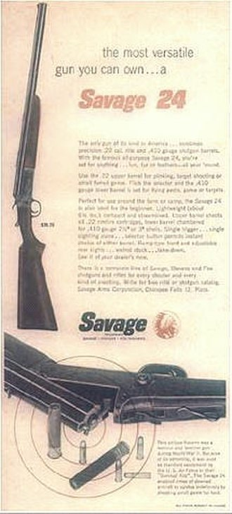 Savage Arms - Advertisement for SAVAGE MODEL 24 circa 1956