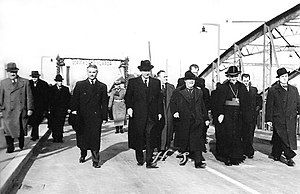 Zagreb in World War II - Croatian Ban Ivan Šubašić, Vladko Maček and Archbishop Aloysius Stepinac opening the Sava Bridge in Zagreb in December 1939