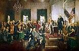 Die Unterzeichnung der Verfassung der Vereinigten Staaten mit George Washington, Benjamin Franklin und Alexander Hamilton (v. r. n. l. im Vordergrund), Gemälde von Howard Chandler Christy.