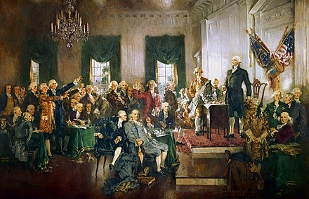 George Washington presiding over the signing of the United States Constitution. Scene at the Signing of the Constitution of the United States.jpg