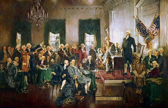 Scene at the Signing of the Constitution of the United States. No Dershowitz' or McConnells there., From WikimediaPhotos