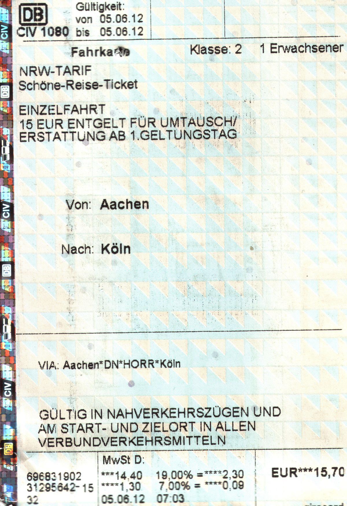 Deutsche bahn bw-ticket single