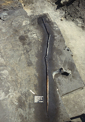 Control of fire by early humans - Fire hardened spear circa 380,000 to 400,000 years old. (See Schöningen Spears)