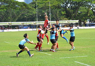 Rugby union in Singapore - A schoolboy rugby match at the Padang in Singapore in October 2013