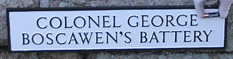 St Mary's, Isles of Scilly - Name plate on Colonel George Boscawen's Battery