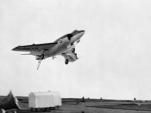 Scimitar landing on HMS Ark Royal (R09) 1957.jpg