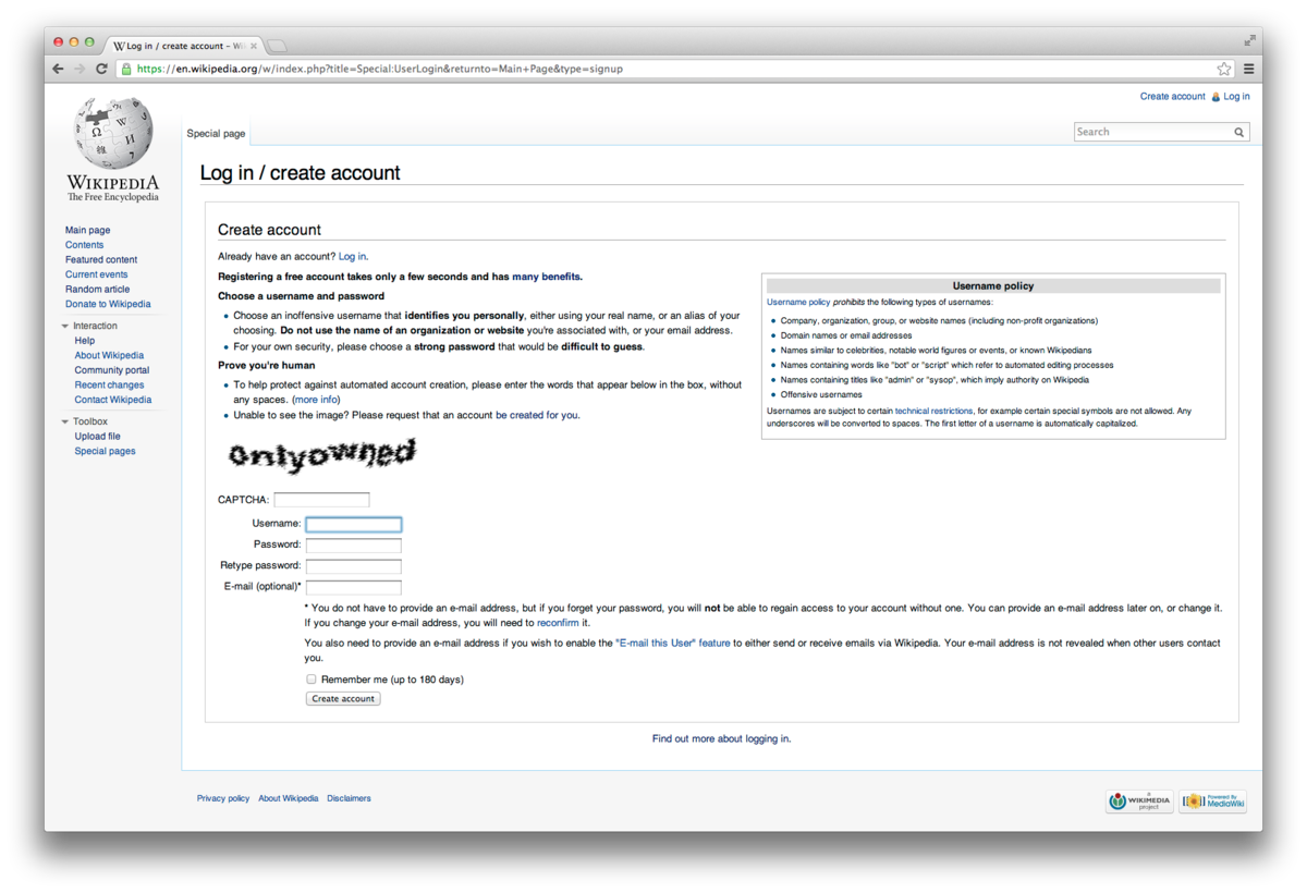 Account creation user experience - MediaWiki