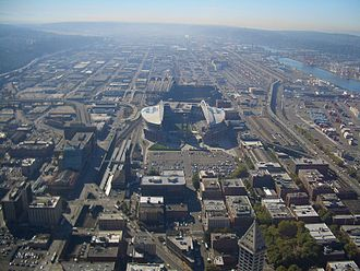 SoDo, Seattle - King Street Station, Safeco Field, CenturyLink Field, and most of the rest of SoDo can be seen from Columbia Center observation deck